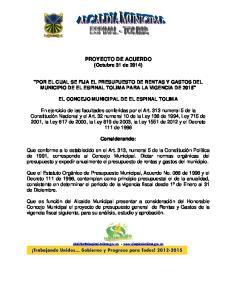PROYECTO DE ACUERDO (Octubre 31 de 2014)