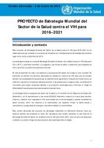 PROYECTO de Estrategia Mundial del Sector de la Salud contra el VIH para