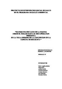 PROYECTO DE INTERVENCION SOCIAL EN SALUD EN EL PROGRAMA DE SALUD AMBIENTAL