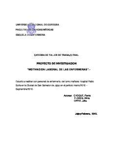 PROYECTO DE INVESTIGACION MOTIVACION LABORAL DE LAS ENFERMERAS.-