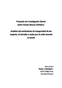 Proyecto de Investigación Social sobre Acoso Sexual Callejero: