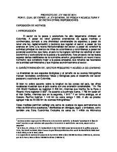 PROYECTO DE LEY 198 DE 2014 POR EL CUAL SE EXPIDE LA LEY GENERAL DE PESCA Y ACUICULTURA Y SE DICTAN OTRAS DISPOSICIONES
