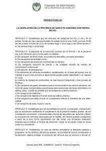 PROYECTO DE LEY LA LEGISLATURA DE LA PROVINCIA DE SANTA FE SANCIONA CON FUERZA DE LEY: