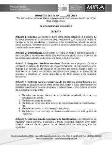 PROYECTO DE LEY Nº DE 2013 Por medio de la cual se establece el programa de bicicletas escolares y se dictan otras disposiciones