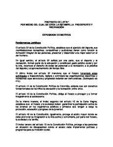 PROYECTO DE LEY N POR MEDIO DEL CUAL SE CREA LA ESTAMPILLA PRODEPORTE Y RECREACIÓN EXPOSICION DE MOTIVOS