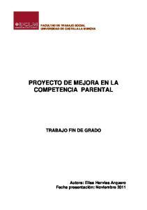 PROYECTO DE MEJORA EN LA COMPETENCIA PARENTAL