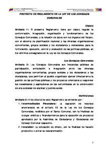 PROYECTO DE REGLAMENTO DE LA LEY DE LOS CONSEJOS COMUNALES