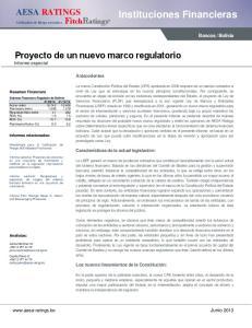 Proyecto de un nuevo marco regulatorio Informe especial