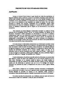 PROYECTO DE VOLUNTARIADO INDUCIDO