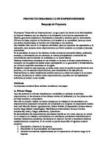 PROYECTO DESARROLLO DE EMPRENDEDORES. Bosquejo de Propuesta