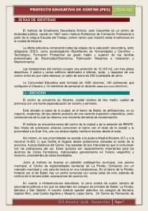 PROYECTO EDUCATIVO DE CENTRO (PEC) [ ] I.- SEÑAS DE IDENTIDAD