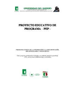 PROYECTO EDUCATIVO DE PROGRAMA PEP -