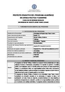 PROYECTO EDUCATIVO DEL PROGRAMA ACADÉMICO DE CIENCIA POLÍTICA Y GOBIERNO