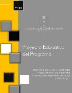 Proyecto Educativo del Programa Ingeniería de Minas y Metalurgia