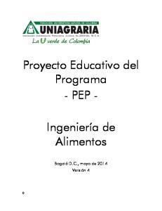 Proyecto Educativo del Programa - PEP -