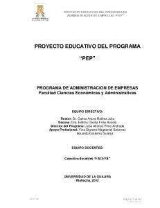 PROYECTO EDUCATIVO DEL PROGRAMA PEP