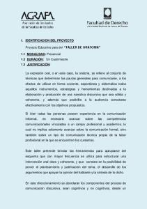 Proyecto Educativo para del TALLER DE ORATORIA
