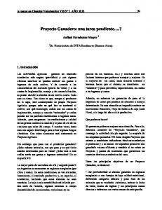 Proyecto Ganadero: una tarea pendiente.?