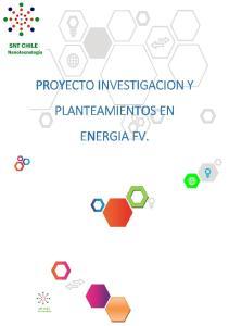 PROYECTO INVESTIGACION Y PLANTEAMIENTOS EN ENERGIA FV