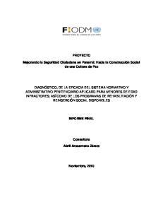 PROYECTO. Mejorando la Seguridad Ciudadana en Panamá: Hacia la Construcción Social de una Cultura de Paz