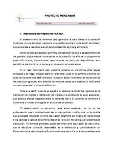 PROYECTO MERCABAR. 1. Importancia del Proyecto MERCABAR