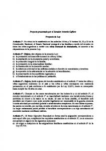Proyecto presentado por el Senador Antonio Cafiero. Proyecto de Ley