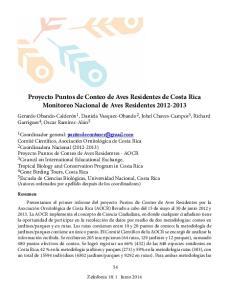 Proyecto Puntos de Conteo de Aves Residentes de Costa Rica Monitoreo Nacional de Aves Residentes