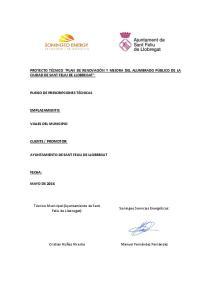 PROYECTO TÉCNICO PLAN DE RENOVACIÓN Y MEJORA DEL ALUMBRADO PÚBLICO DE LA CIUDAD DE SANT FELIU DE LLOBREGAT