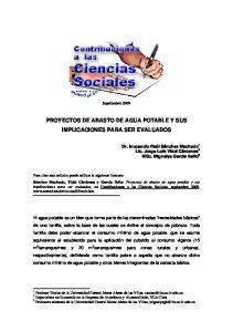 PROYECTOS DE ABASTO DE AGUA POTABLE Y SUS IMPLICACIONES PARA SER EVALUADOS