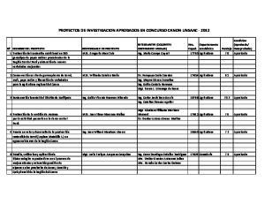 PROYECTOS DE INVESTIGACION APROBADOS EN CONCURSO CANON UNSAAC
