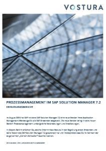 PROZESSMANAGEMENT IM SAP SOLUTION MANAGER 7.2