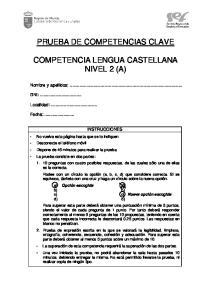 PRUEBA DE COMPETENCIAS CLAVE COMPETENCIA LENGUA CASTELLANA NIVEL 2 (A)