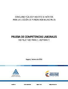 PRUEBA DE COMPETENCIAS LABORALES INSTRUCTIVO PARA EL ASPIRANTE