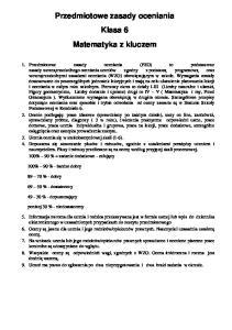 Przedmiotowe zasady oceniania Klasa 6 Matematyka z kluczem