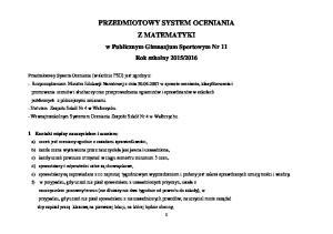 PRZEDMIOTOWY SYSTEM OCENIANIA Z MATEMATYKI