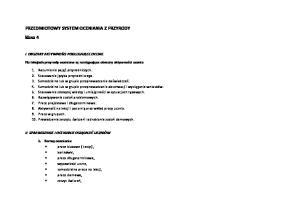 PRZEDMIOTOWY SYSTEM OCENIANIA Z PRZYRODY klasa 4