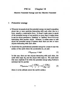 PS114 Chapter 19. Electric Potential Energy and the Electric Potential