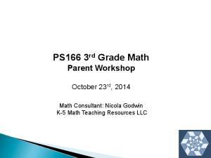 PS166 3 rd Grade Math Parent Workshop