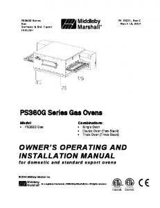 PS360G Series Gas Ovens