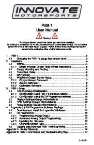 PSB-1 User Manual. Warning!