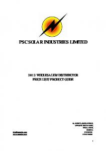 PSC SOLAR INDUSTRIES LIMITED
