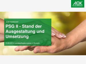 PSG II - Stand der Ausgestaltung und Umsetzung