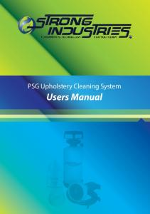 PSG Upholstery Cleaning System. Users Manual