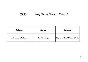 PSHE Long Term Plans Year 8 Autumn Spring Summer
