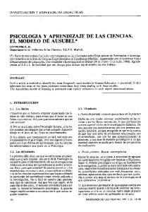 PSICOLOGIA Y APRENDIZAJE DE LAS CIENCIAS. EL MODELO DE AUSUBEL*