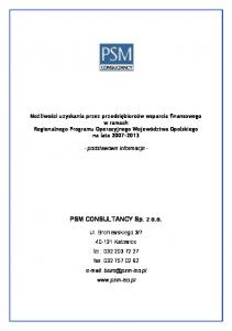 PSM CONSULTANCY Sp. z o.o