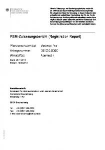 PSM-Zulassungsbericht (Registration Report)