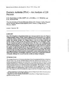 Psoriatic Arthritis (PSA) - An Analysis of 220 Patients