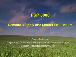PSP Demand, Supply and Market Equilibrium