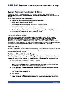 PSU 2012 System Administrator: System Settings